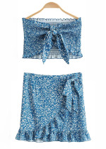 Set in Blue Floral ( Tube Top & Skirt )