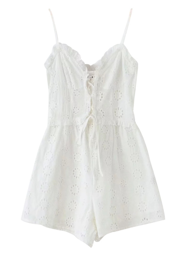 Embroidered Eyelet Romper in White