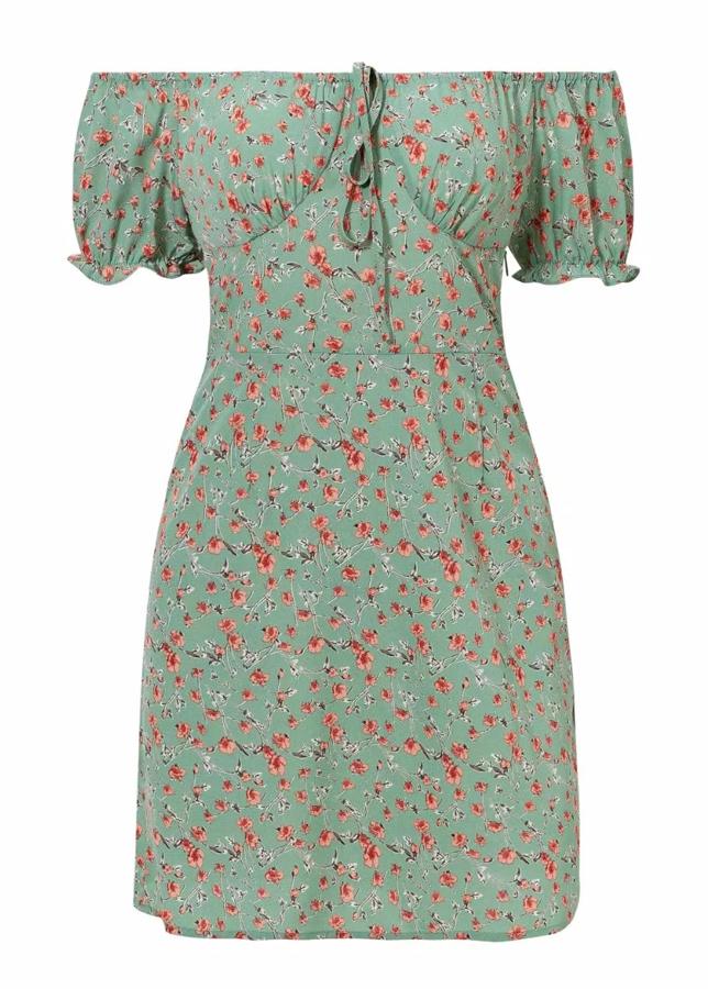 Off Shoulder Mini Dress in Green Floral