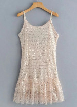 Sequined Slip Dress in Champagne