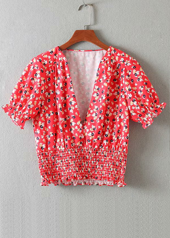 Smock Waist Blouse in Red Floral