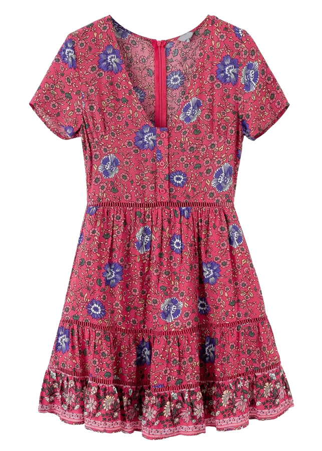 Short Sleeves Dress in Fuchsia Floral