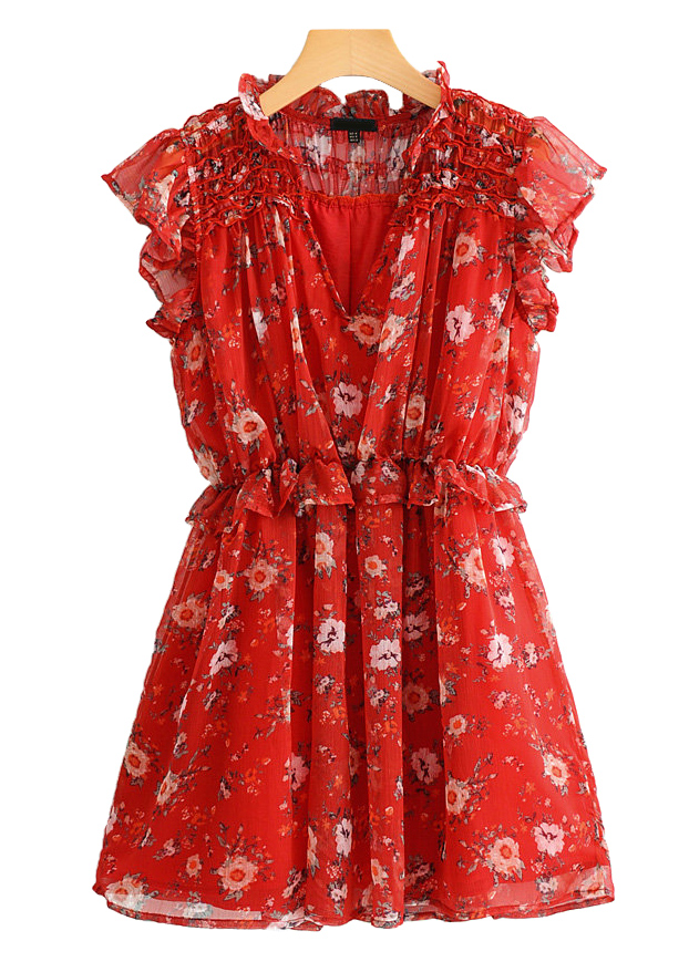 Frill Dress in Red Floral
