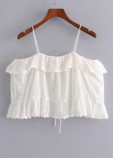 Off Shoulder Embroidered Top in White