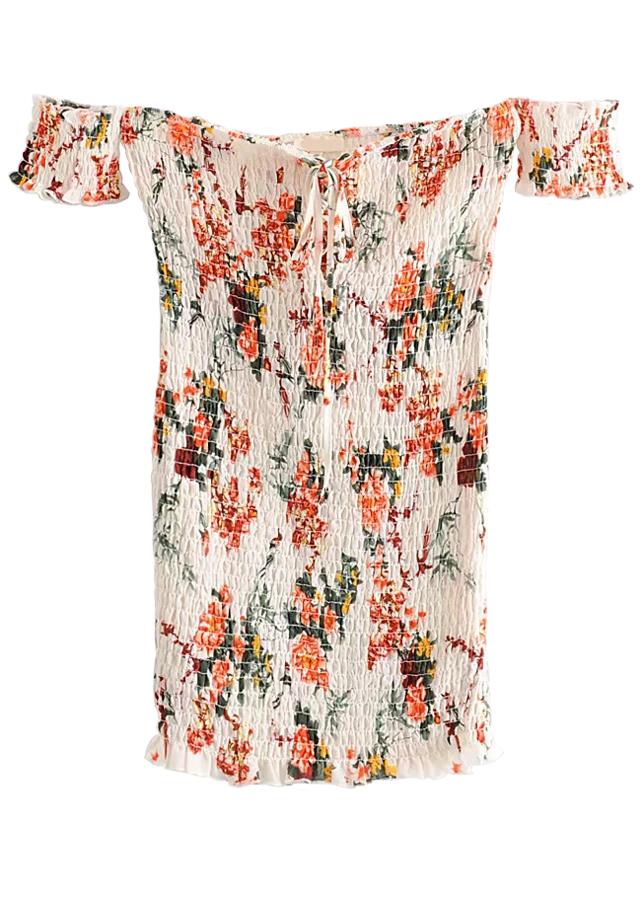 Off Shoulder Smock Short Dress in Cream Floral