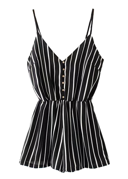 Stripe Romper in Black