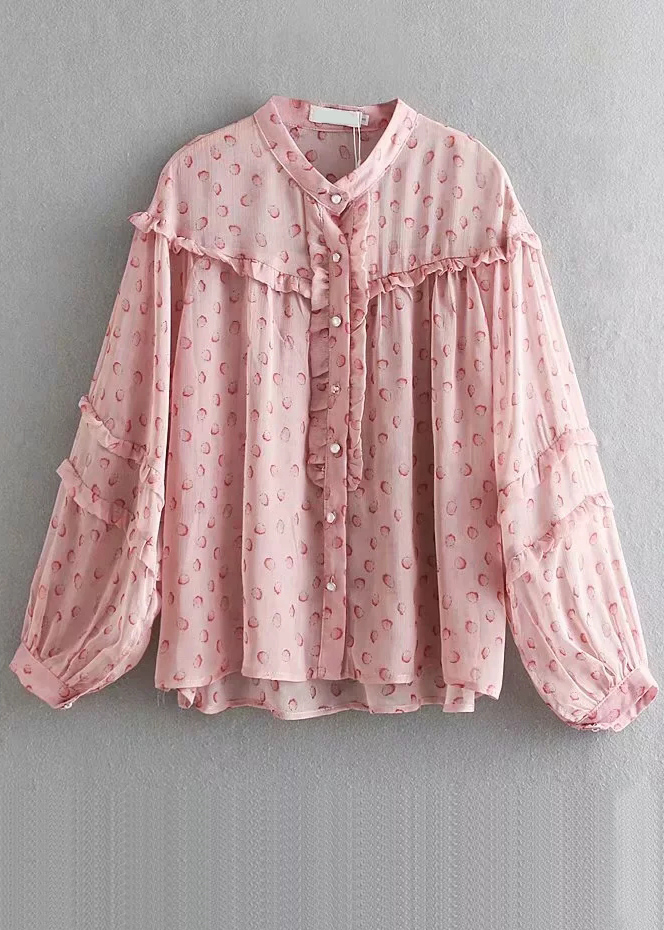 Frill Detail Long Sleeves Blouse in Blush Floral