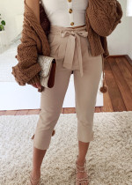 High Waist Crop Pants in Beige