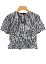 Gingham Crop Blouse