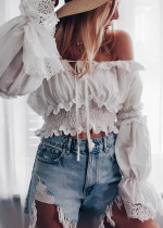 Bell Sleeves Crop Blouse in White
