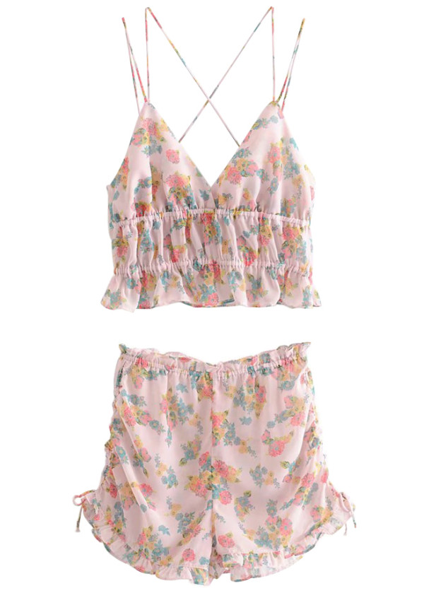 Floral Set ( Crop Top & Shorts )