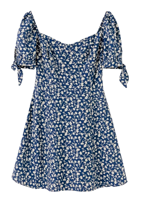Short Sleeves Min Dress in Navy Floral