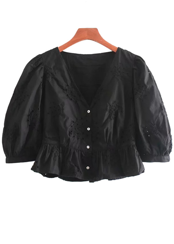 Embroidered Crop Blouse in Black