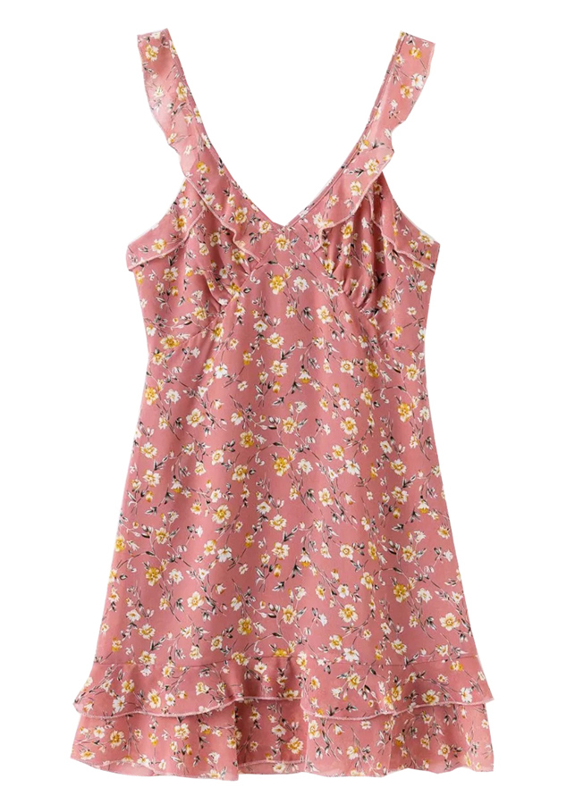 Frill Floral Slip Dress ( in 2 Colors )