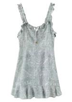Frill Straps Floral Short Dress