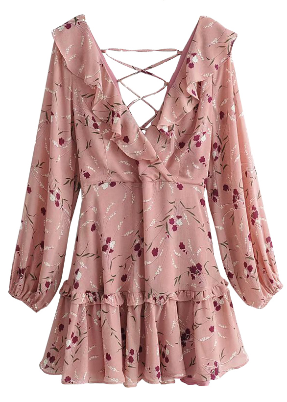 Lace-Up Back Dress in Blush Floral