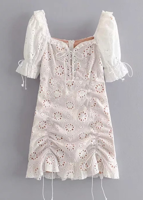 Embroidered Bodycon Dress in White