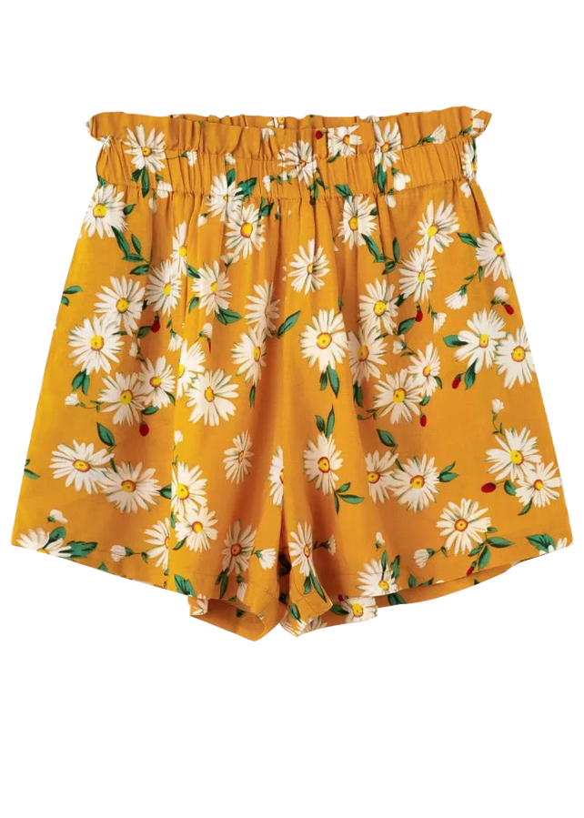 High Waist Shorts in Yellow Floral