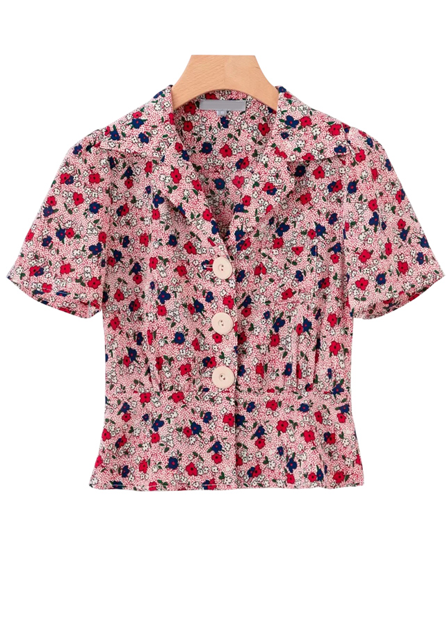 Short Sleeves Floral Blouse ( in 2 Colors )