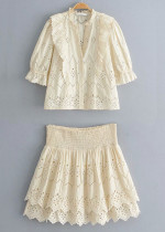Embroidered Eyelet Set in Beige ( Blouse & Shorts )