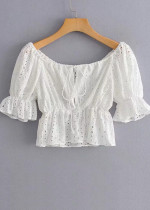 Embroidered Eyelet Crop Top in White