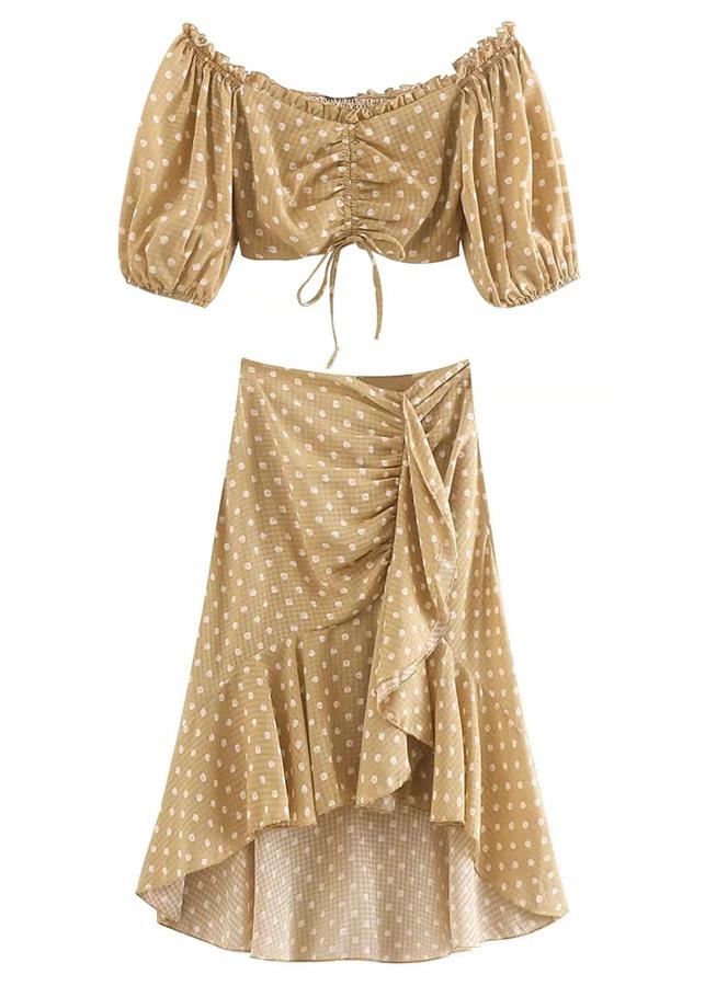 Polka Dot Set ( Crop Blouse & Skirt )