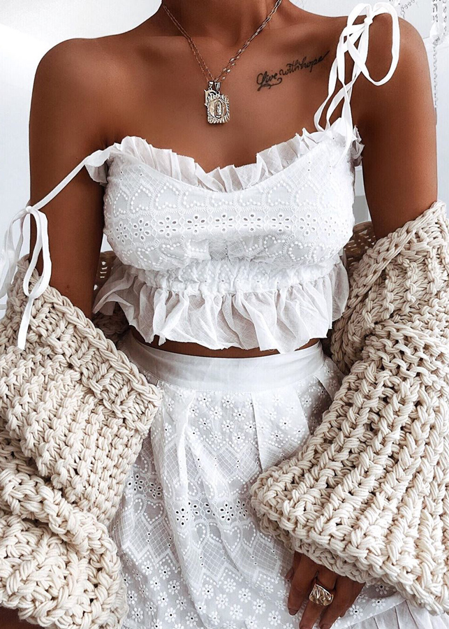 Embroidered Set in White ( Crop Top & Shorts )