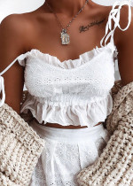 Embroidered Crop Top in White