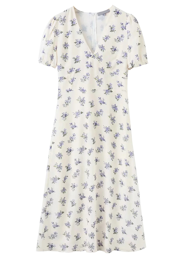 Short Sleeves Maxi Dress in White Floral
