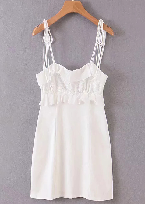Self-Tie Straps Bodycon Dress in White