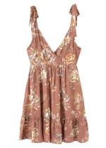 Tie Straps Short Dress in Tan Floral