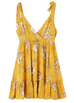 Tie Straps Short Dress in Yellow Floral