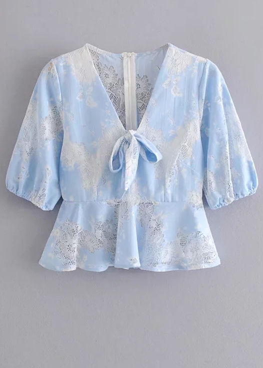 Lace Detail Blouse in Blue