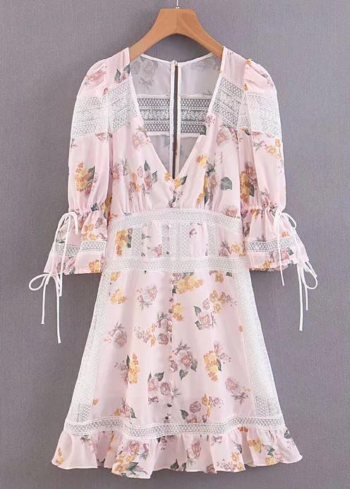 Lace Panel Detail Short Dress in Blush Floral