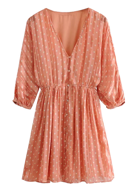 Button Front Dress in Coral