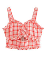 Frill Crop Top in Red Gingham