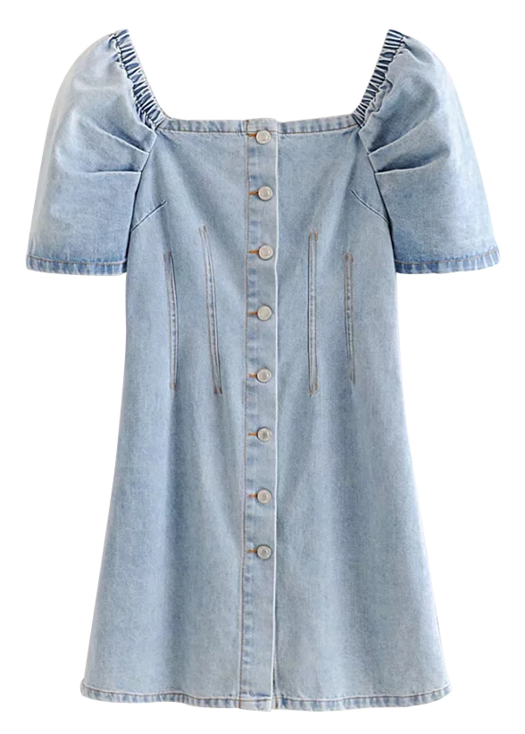 Button Front Denim Short Dress