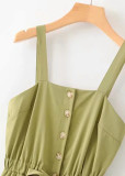 Button Front Romper in Olive
