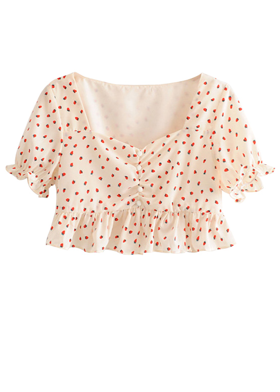 Flounce Hem Crop Top in Cream Floral