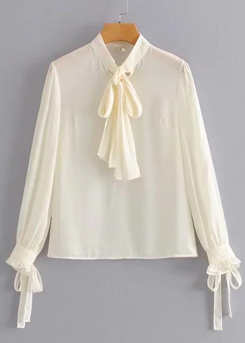 Tie Detail Long Sleeves Blouse in Beige