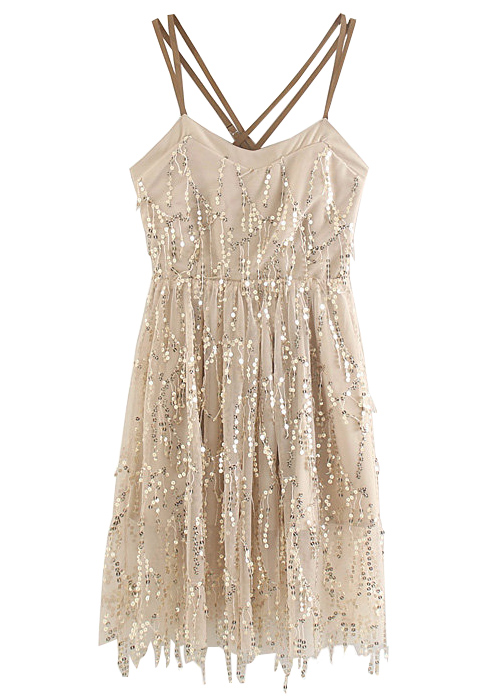 Backless Sequined Dress
