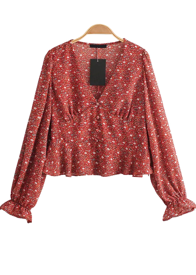 Bell Sleeves Blouse in Rust Floral