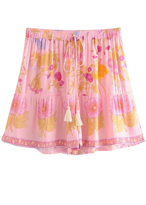 High Waist Shorts in Pink Floral