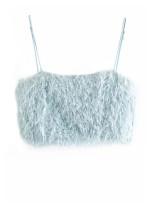 Faux Fur Top in Blue