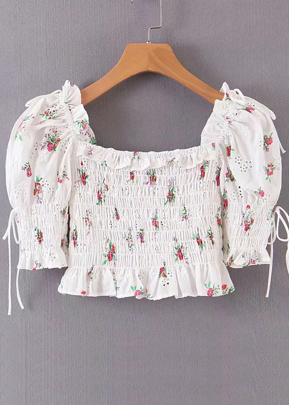 Smock Crop Blouse in White Floral