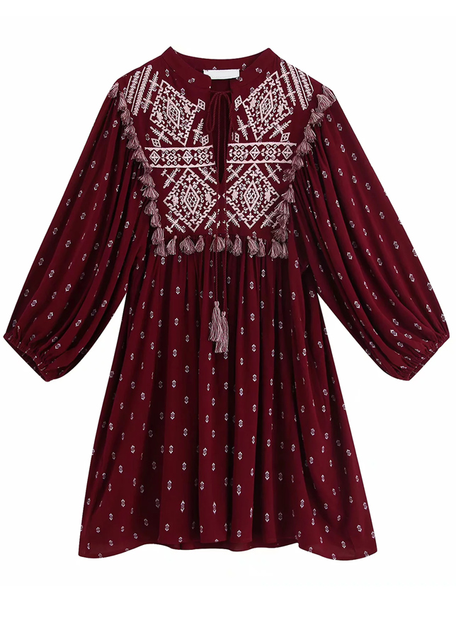 Embroidered Dress in Maroon
