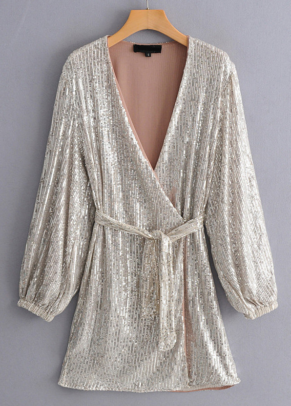 Long Sleeves Wrap Front Sequined Dress