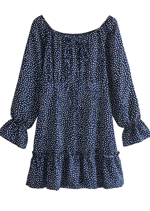 Bell Sleeves Dress in Navy Floral