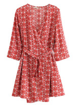 Wrap Dress in Red Floral