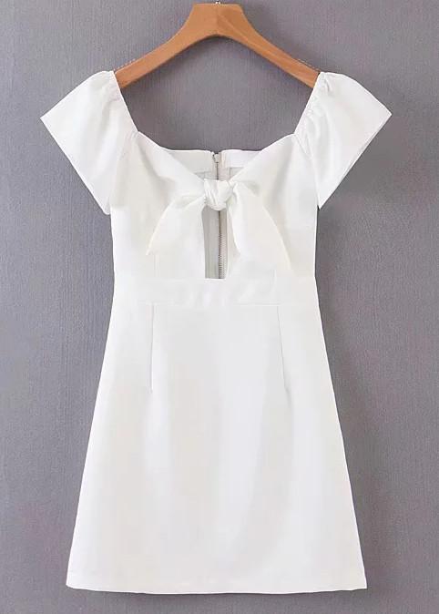 Short Sleeves Dress in White